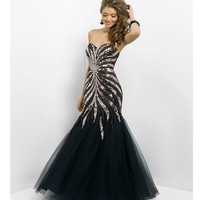 (PRE-ORDER) Blush 2014 Prom Dresses - Black & Copper Stone Tulle Mermaid Prom Gown