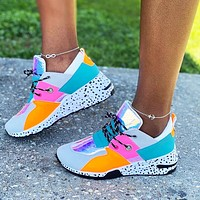 2020 new women's shoes wedge heel platform platform casual shoes color block colorful shoes lake blue orange grey with white soles dots