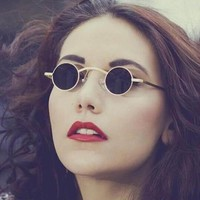 Brand Vintage Round Sunglasses Women Men Steampunk small Metal Frame Sun Glasses Female Retro Eyewear Mirror Oculos De Sol