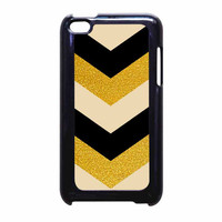 Chevron Classy Black And Gold Printed iPod Touch 4th Generation Case