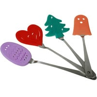 Hampton Direct Stainless Steel Holiday Themed Spatulas - Baking Cooking - 4 Pack