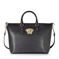 Versace Palazzo Small Black Leather Tote Bag