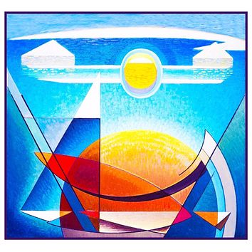 Sun and Earth Modern Art by  Canadian Lawren Harris Counted Cross Stitch Pattern