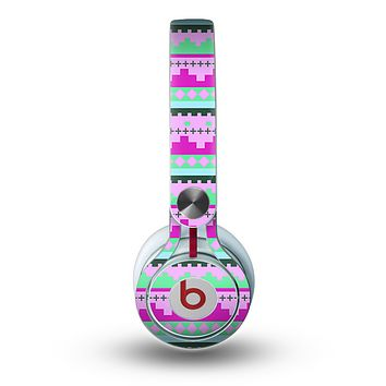 The Lime Green & Purple Tribal Ethic Geometric Pattern copy Skin for the Beats by Dre Mixr Headphones
