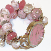 Two-Toned Pink Chunky Beaded Watch, Pink Interchangeable Watch, Pink Bracelet Watch, Pink Watch, BeadsnTime,Unique Gift,Bride Gift, Mom Gift