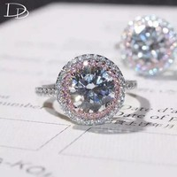 DODO Beautiful Pink Small AAA Zircon Round Rings For Women Luxurious 7mm Main Stone Wedding Engagement Jewelry Anillos JZ069