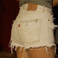 destroyed white levis high waisted cut offs