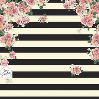 Black and Ivory Striped Backdrop Floral Wife Baby Shower Wedding Event Bride Future Mrs Wedding Shower Bridal Fabric Cloth Background