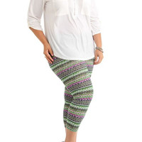 Women's Plus Size Vibrant Winter Tribal Ankle Leggings