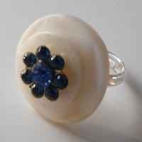 Blue White Button Ring, Flower Ring, Rhinestone Ring, Adjustable Ring, Button Jewelry, Gift Idea, Repurposed Jewelry, Cocktail Fashion Ring