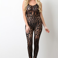 Semi-Sheer Lace Scoop Neck Sleeveless Jumpsuit