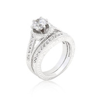 Cubic Zirconia Round Cut Ring Set, size : 08