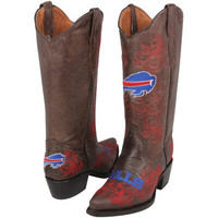 Buffalo Bills Womens Embroidered Cowboy Boots - Brown