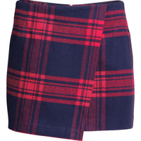 H&M - Plaid Wrap-front Skirt - Red - Ladies