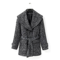 Long Sleeve Collared Belted Winter Coat