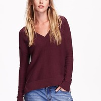 Textured Knit V Neck Sweater