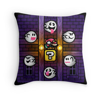 'Boos in the Haunted House' Throw Pillow by likelikes