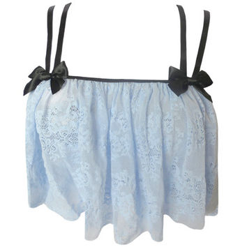 Forget Me Not Camisole - powder blue lace night top