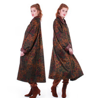 80s Vintage Iridescent Floral Swing Coat Full Sweep Shiny Copper Brown Leather Draped Long Raincoat Winter Jacket Women Plus Size 2X 3X