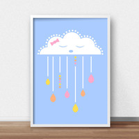 Girl Nursery Art Print, Cloud Nursery Wall Art,  Baby Girl Nursery Cloud Art, Printable Nursery, Little Girls Room Wall Print, Baby Girl Art