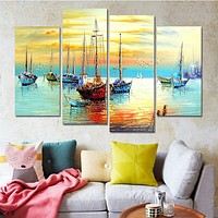 Drop-shipping Sail Boat Paintings Cuadros Decoracion Wall Art Canvas Pictures for Living Room Nordic Home Decor Unframed 4 Panel