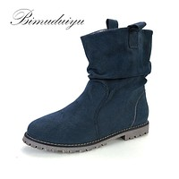 New Trendy Spring Autumn Winter Flock Fashion Boots City Lady Ankle Flat Winter Boots Women Snow Boots