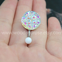 Studded White AB Color Navel Jewelry,Sparkling belly ring,blingbling belly button ring,Stud Navel Piercing Ring Stud Piercing