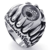 KONOV Jewelry Stainless Steel Dragon Claw Evil Eye Men's Ring