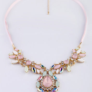 Pink Jewels Statement Necklace