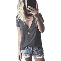 Women's Casual V-Neck with Choker Style Charcoal Gray Short Sleeve T-Shirt Top