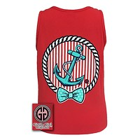 SALE Girlie Girl Originals Collection Anchor Bow Logo Bright Comfort Colors Red Tank Top Shirt
