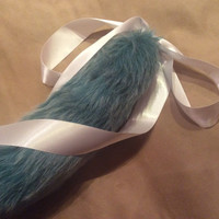 Luxury 22 Inch Teal & White Fleck With Deep Ice White Tip Kitten Play Tail Faux Fur.
