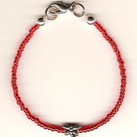 Anorexia Support Bracelet - 'FRAGILE' w/ Dragonfly in Red, Purple, Pink, or Clear