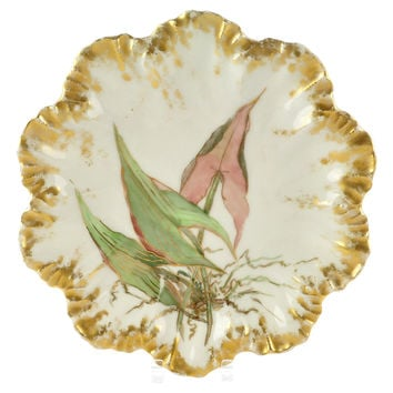 French Limoges Gilt Seaweed Wall Plate