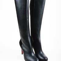 DCCK2 Black Christian Louboutin Leather Suede Knee Acheval 85 Boots