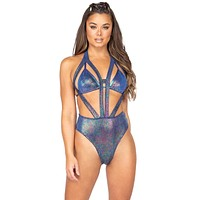 Sexy Happy Hardcore Iridescent Open Cup Strappy Thong Romper