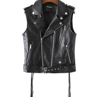 Black Faux Leather Biker Vest with Zip Detail