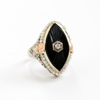 Sale - Antique Art Deco 14K White Gold Filigree Ring - Vintage 1920s Onyx, Diamond, & Seed Pearl Fine Jewelry with Yellow Rose Gold Flowers