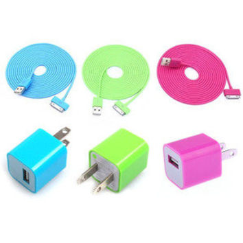 Total 6pcs/lot!USB Data Charging Cable Cord USB Power Adapter Wall Charger For Iphone 4/4s/5