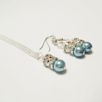 Bridesmaid Gift / Light Blue Pearl Necklace Set / Bridesmaid Jewelry Set / Rhinestone Necklace / Bridal Necklace and Earring Set