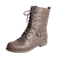 Blossom by Beston Women's 'Cana-8' Mid-calf Combat Boots | Overstock.com