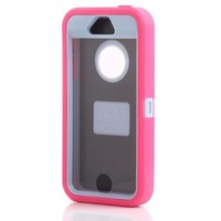 Huaxia Datacom Body Armor Heavy Duty Dirtproof Shockproof Hybrid Defender Case for iPhone 5S - Rose Silicone on Mint Core (only for iPhone 5S, not for iphone 5/5C)