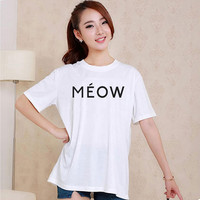Cute MEOW Feline Paris Style White and Black Reaclothstore