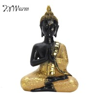 KiWarm Praying Thai Buddha Sitting Meditating Figurine Statue Sculpture Feng Shui Ornaments For Home Offfice Desk Decor Crafts