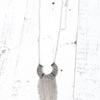 With Love From CA Fringe Trim Long Medallion Necklace - Womens Jewelry - Silver - One