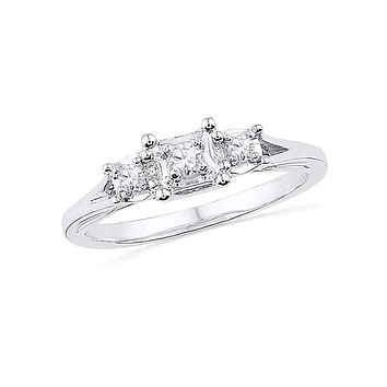 10kt White Gold Women's Round Diamond 3-stone Bridal Wedding Engagement Ring 1/10 Cttw - FREE Shipping (US/CAN)