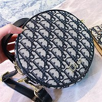 Dior Fashion new more letter print canvas round shoulder bag crossbody bag
