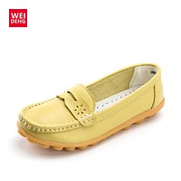 WeiDeng Women Genuine Leather Flats Gommino Moccasin Loafers Casual Slip On Cow Driving Fashion Ballet Boat Shoes
