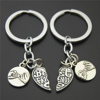 1SET(2PCS) Heart Pendant Best Friend Key Chains Hand In Hand Key Ring Puzzle Key Chains Diy Key Ring For Friendship E883