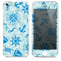 Blue Nautical Life Print Skin for the iPhone 3gs, 4/4s, 5, 5s or 5c